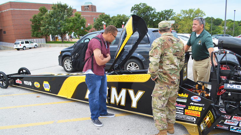Army dragster pays UMSL a visit leading up to weekend race