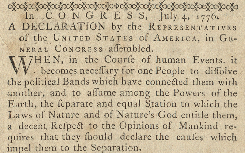 Declaration of Indepence in the Pennsylvania Ledger