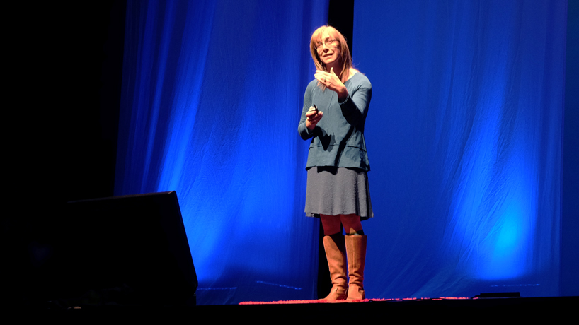 During her 2017 TEDxGatewayArch Talk, Theresa Coble, the E. Desmond Lee Endowed Professor of Experiential and Family Education at UMSL, speaks on how her experience grieving a daughter and seeking healing can apply on larger, national scale in grieving difficult histories and healing as a nation. (Photo by Marisol Ramirez)