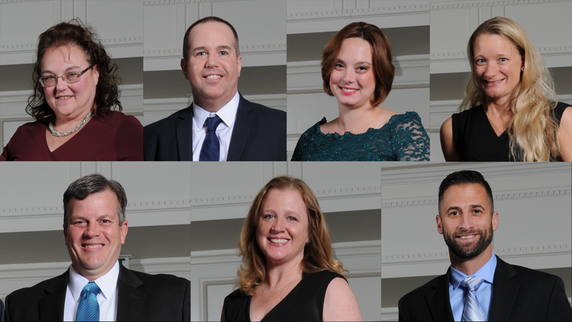 UMSL alumni to receive 2017 Emerson Excellence in Teaching Awards include (top row, left to right) Erin Graves, Joseph Howe, Katherine Glass, Kathie Eckelkamp and (bottom row, left to right) Steve Taff, Kim Gutchewsky and Steve Hutson. Jana Loftis (not pictured) is the eighth recipient. (Photos courtesy of Emerson)