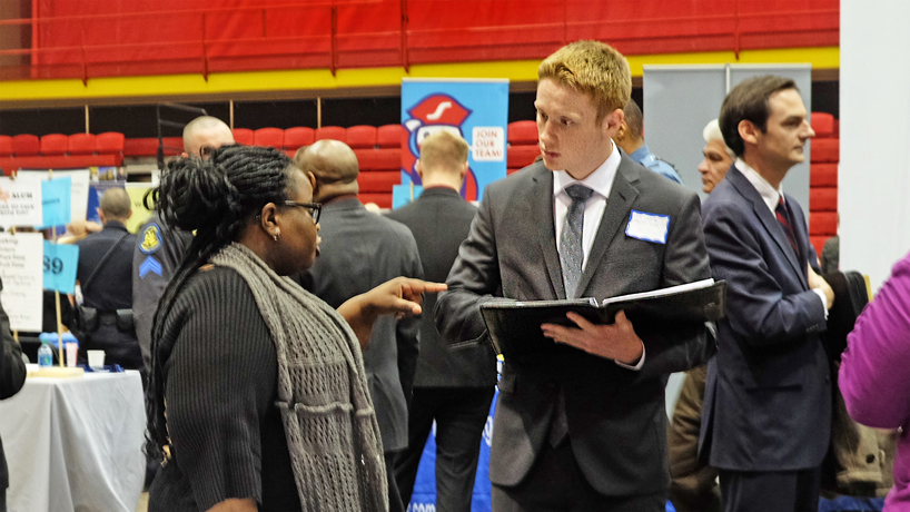 Dressed to impress, resumes in hand: UMSL students, alumni get their feet in the door at Spring Career Fair