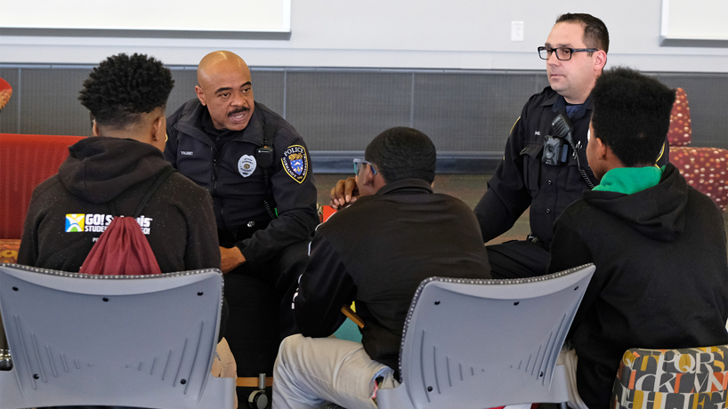 Police and Normandy Middle School students come together for Day of Dialogue at UMSL