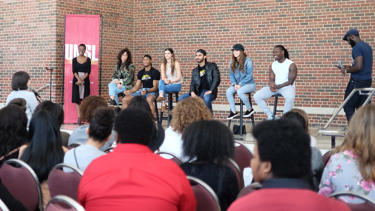 Hamilton cast members visit UMSL campus, meet local high school students
