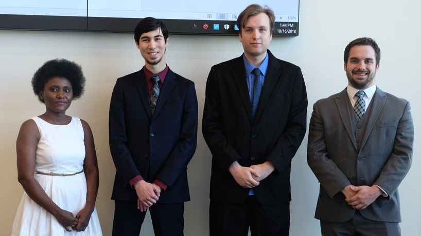 UMSL students Adelaide Aboagye (at left), Ian Bae, Vasyl Onufriyev and Andrew McCormick