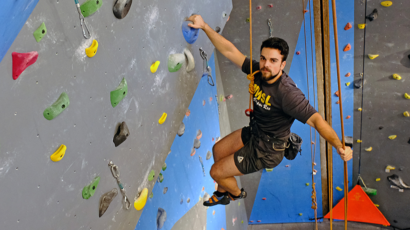 Engineering student defies physics at Climbing Center
