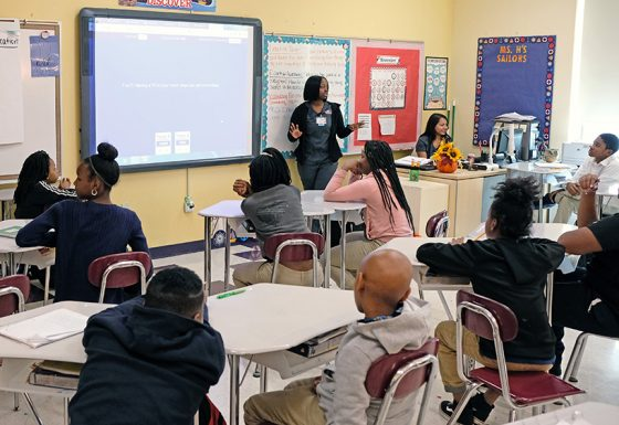 Pabitra Upreti and Navonna Smith led a group of fourth graders in round of health-education-themed Jeopardy!