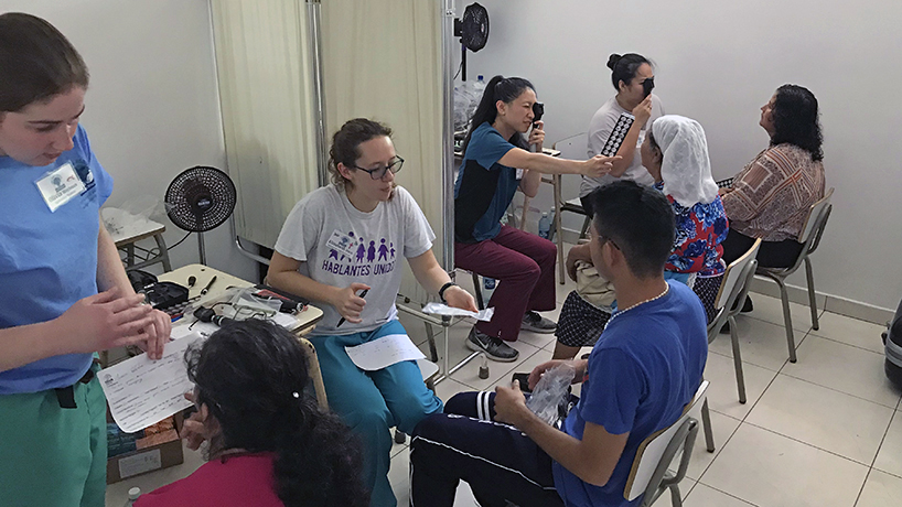 In November, a group from the College of Optometry including (back row, from left) third-years Olivia Hoylman and Elizabeth Ditch, Assistant Clinical Professor Linda Nguyen and fourth-year Marie Lulette Fermil joined a Helping Hands Medical Missions trip to El Salvador. (Photo courtesy of Linda Nguyen)
