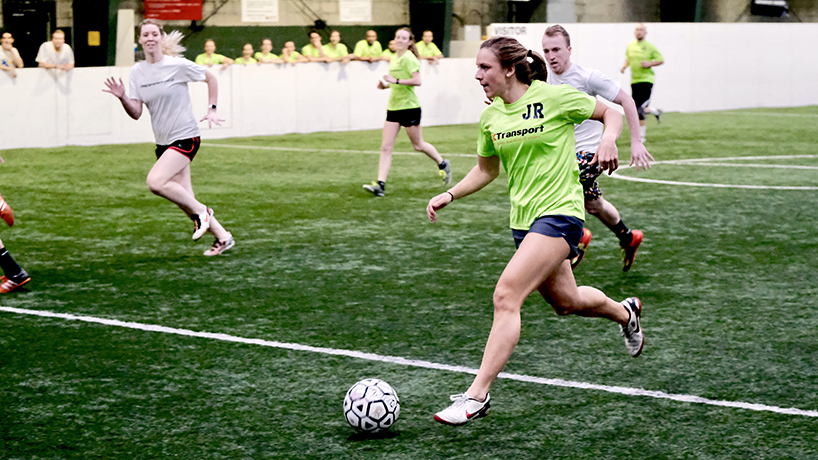 Optometry student Kailey Utley finished her rush with an assist for a goal, helping advance her Vetta Sports recreational team to their championship game, played on Sunday. (Photo by August Jennewein)