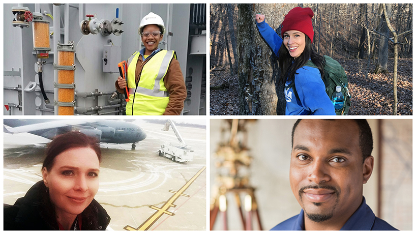 Throughout it's 25 years, the joint engineering program has transformed the lives of its graduates and the state of the St. Louis region. Clockwise from top right: Jennifer Sommerfeld, Christopher Peoples, Siri Vikan, Nikia Munson. (Photos courtesy of those pictured)