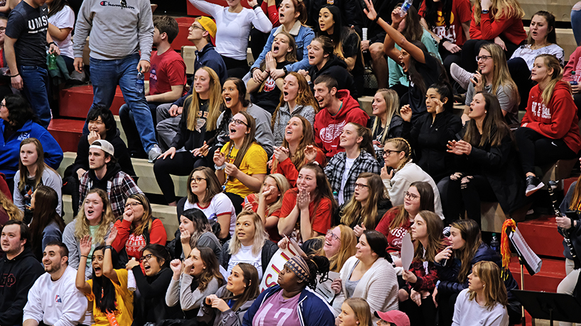 Students gather for to cheer on the Tritons at the Pack the Stands Basketball Game. (Photos by August Jennewein)