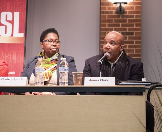 Nicole Adewale (left) and James Clark, community outreach director for Better Family Life, were two of the panelists featured during last Thursday's event.