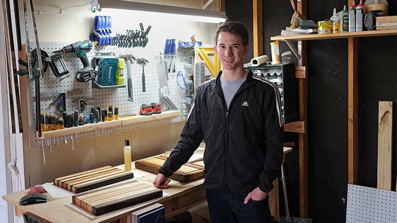 Engineering major Kyle Baumann's talents stretch from woodworking to roadways