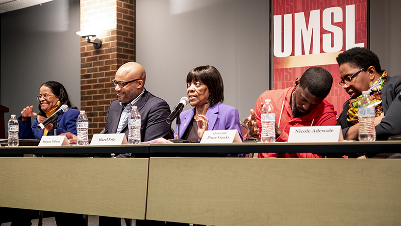"The ""Black in St. Louis: Sculpting our Future,"" a community forum and panel included discussion of youth outreach, employment, the Better Together city/county merger proposal and an audience Q&A. (Photos by Jessica Rogen)"