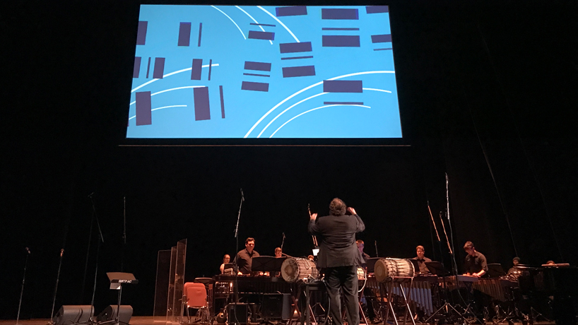 Design students team with UMSL Percussion Ensemble on animated performance of 'Stained Glass'