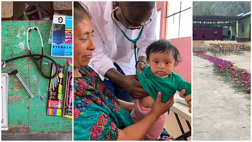 DNP student Norman Njihi (center) examines a young child in ElQuimal La Joya. (right) A pine bough and rose petal path led to the schoolhouse, which served as a makeshift clinic. (Photos courtesy of Natalie Murphy)