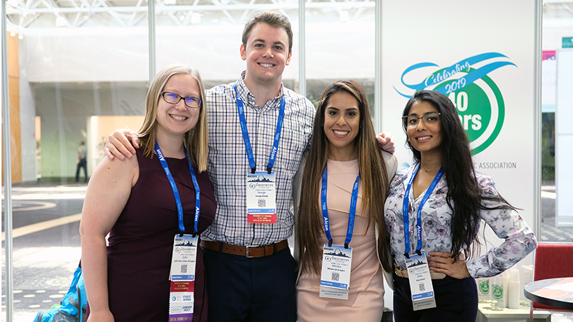 From left: UMSL students Sydni Davis Farhat and George Dowdy with Nova Southeastern University students Adriana Garcia Aybar and Alisha Kothari.