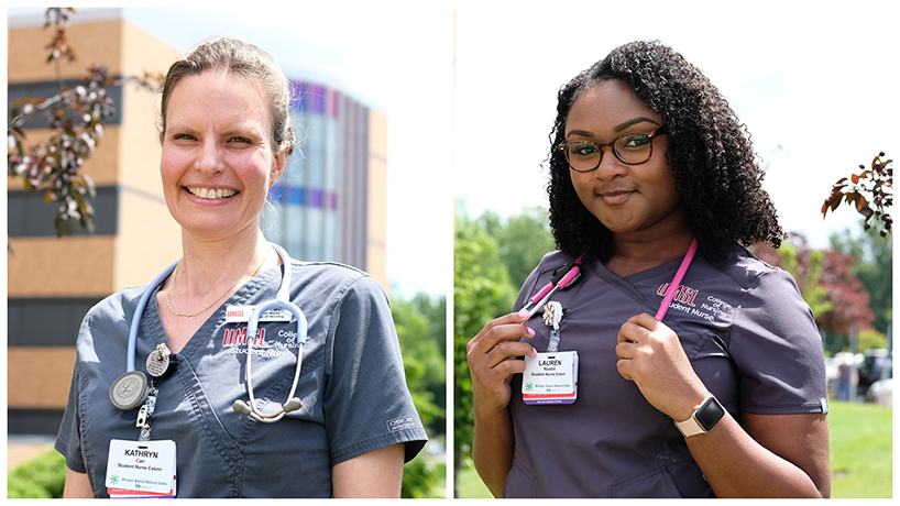 From left, Kathy Carr and Lauren Redditt are gaining valuable expertise this summer as student nurse externs on the postpartum and neurology floors of Missouri Baptist Medical Center. (Photo by Jessica Rogen)