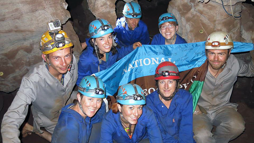 """K. Lindsay Hunter (bottom center) was one the six """"Underground Astronauts"""" on the Dinaldi Chamber expedition. (Photos courtesy of K. Lindsay Hunter)"""