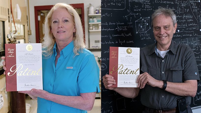 The United States Patent and Trademark Office granted (from left) Professor of Chemistry and Biochemistry Janet Wilking and Associate Professor of Physics Phillip Fraundorf patents in 2019 for work that spans efforts of at least 10 years.