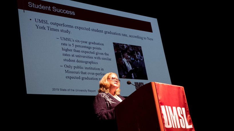 Interim Chancellor Kristin Sobolik touts UMSL as an 'institution of opportunity' in annual address