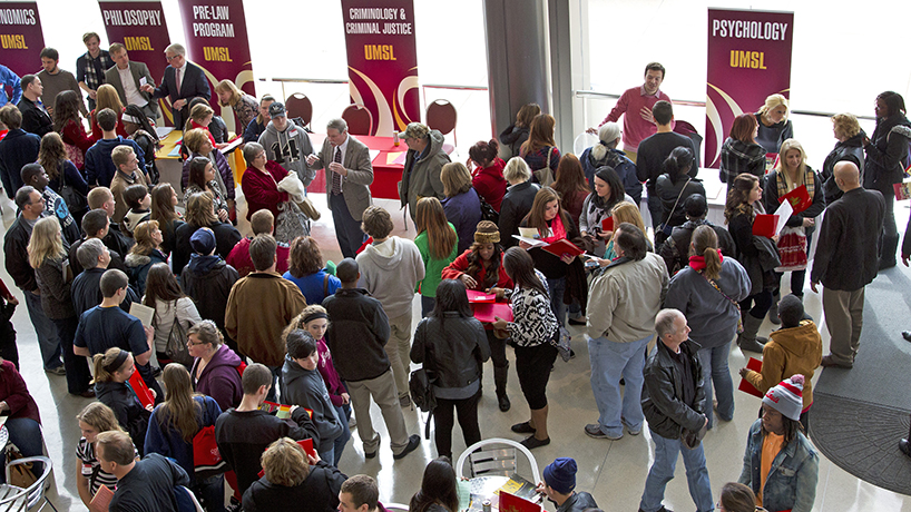 Anywhere from 700-900 prospective undergraduate students attend UMSL Day every fall to learn what UMSL has to offer. (Photo by August Jennewein)