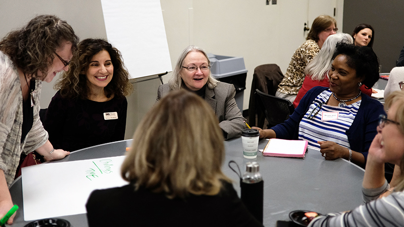 The women faculty broke into small groups to think about the challenges and opportunities present on campus.