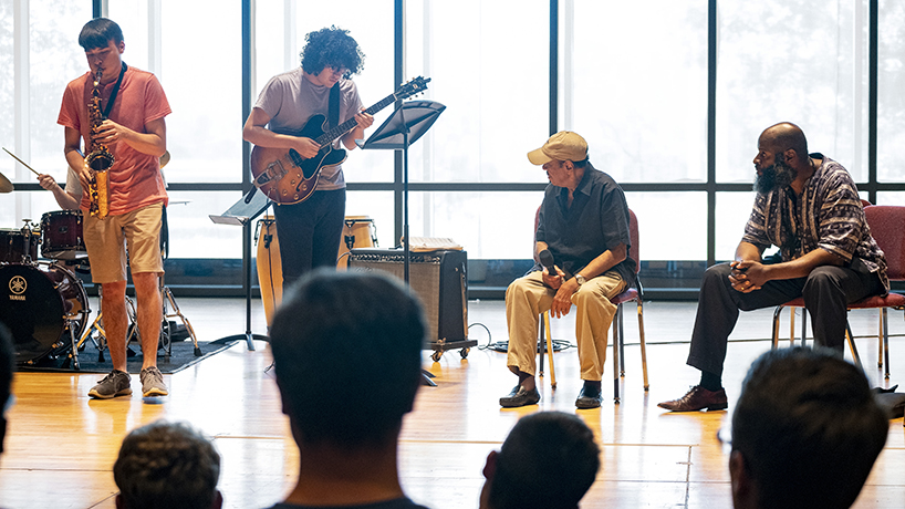 """The afternoon opened with the UMSL Jazz combo performing Benny Golson's """"Blues March."""""""
