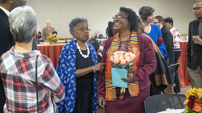 UMSL Director of the Office of Diversity, Equity and Inclusion and Chief Diversity Officer Deborah Burris celebrated her retirement, effective Nov. 1, last Friday in the Century Rooms in the Millennium Student Center. (Photos by August Jennewein)