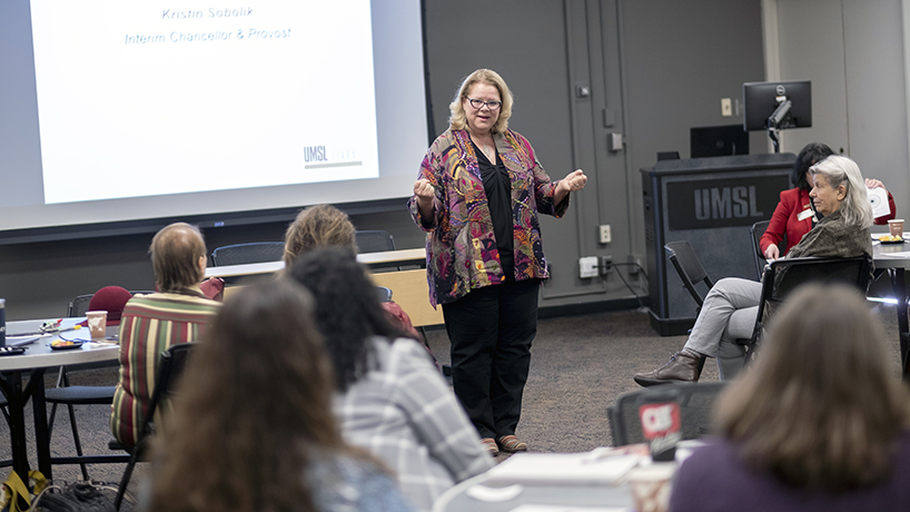 Interim Chancellor and Provost Kristin Sobolik speaks about her career progression at the first meeting of the Associate-to-Full program. (Photo by August Jennewein)