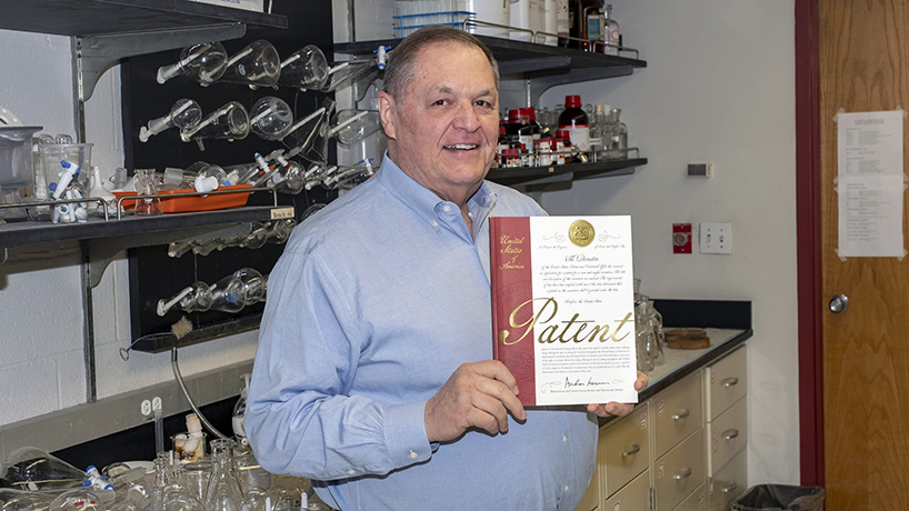 Distinguished Professor of National Society of Leadership and Success recognized Distinguished Professor of Chemistry and Biochemistry George Gokel for the quality of his teaching at the end of last year. (Photo by August Jennewein)
