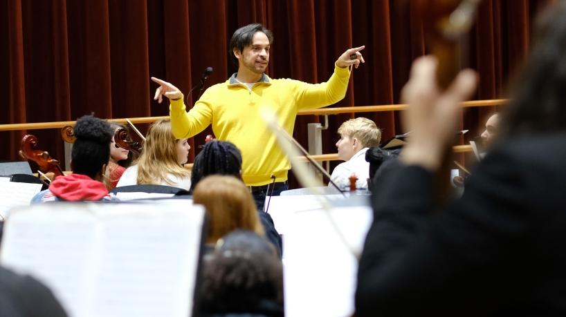 Orchestra rehearsal, Des Lee Fine Arts Festival