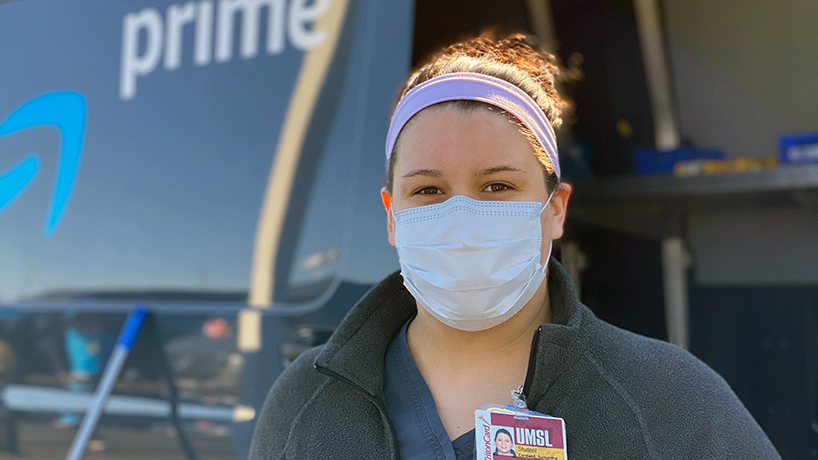 Accelerated BSN student Samantha Cardwell is one of 15 College of Nursing students who are helping screen Amazon delivery workers for signs of COVID-19 through a new partnership. (Photos courtesy of Shawne Manies)
