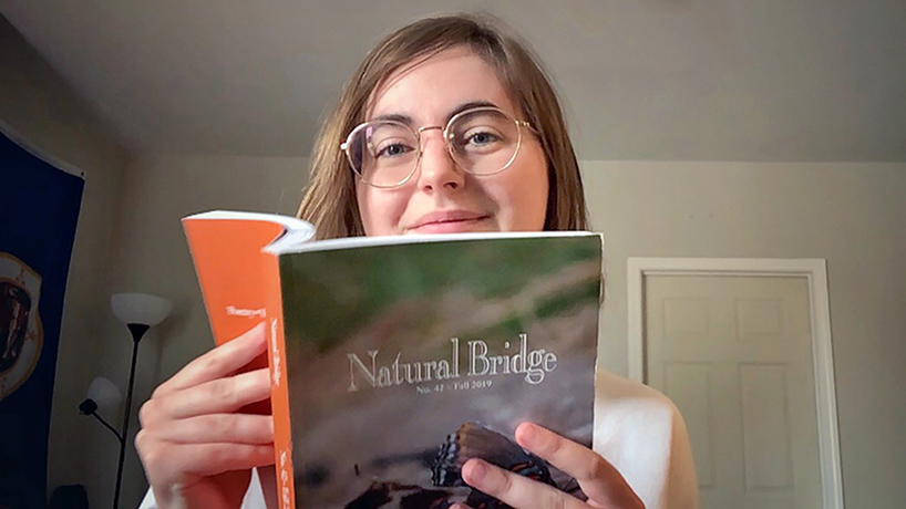 UMSL MFA student Molly Harris leads the production of the university's literary journal, Natural Bridge. She organized a virtual reading series featuring contributors from this year's issues that's taking place over the following weeks. (Photo by August Jennewein)