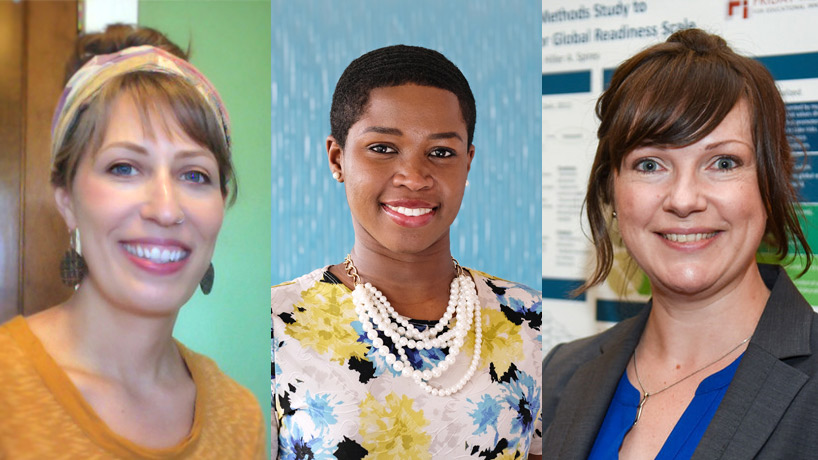 Jennifer Bumble, Mary Edwin and Shea Kerkhoff, College of Education faculty members