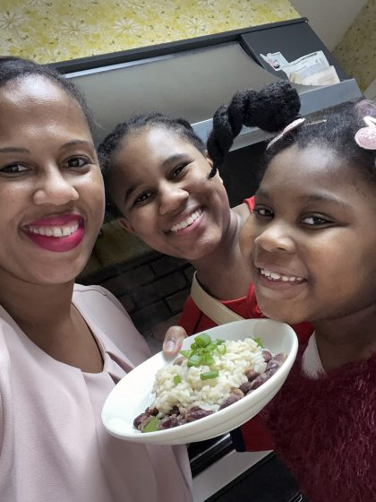 UMSL student Ammarra Berry cooked with her daughter and niece. (Photo courtesy of Ammarra Berry)