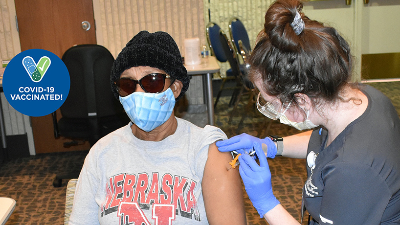 UMSL College of Nursing BSN students began administering vaccinations at sites around the greater St. Louis area on Feb. 1. (Photo courtesy of BJC Healthcare)