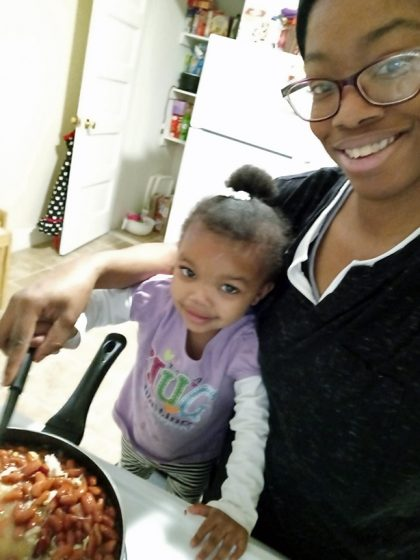 """Mariah Childs' and daughter Mya's favorite part was seeing how their dish would turn out after making an early mistake. Childs said, """"Never take a mistake for granted. Enjoy the little things and laugh. See the positive regardless of the pandemic or negative energy."""" (Photo courtesy of Mariah Childs)"""