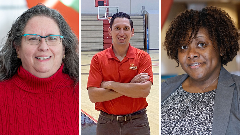 Nora Hendren, Nicholas Kedzuch and Maya Scruggs-Hicks receive UMSL Hero Award