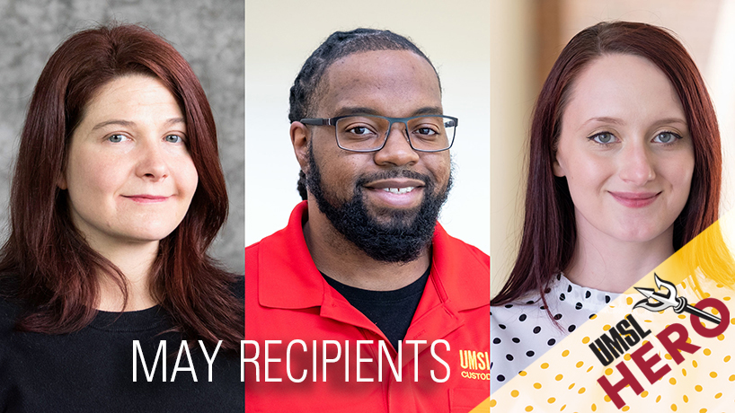 Sarah Butler, Steven Vance and Lee Slocum receive UMSL Hero Award