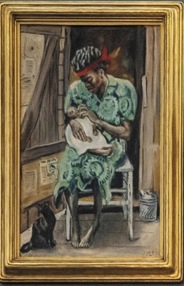 """A German émigré to St. Louis, Joseph Paul Vorst (1897-1947) made public art for the Works Progress Administration and taught and created art in the city, including """"Mother and Child,"""" oil on Masonite, circa 1940."""