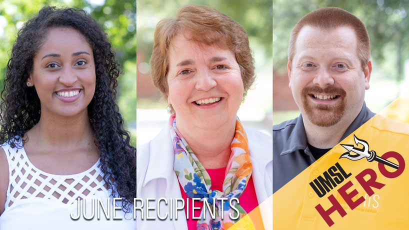 Justine Patterson, Loyola Harvey and Mike Toohey receive UMSL Hero Award