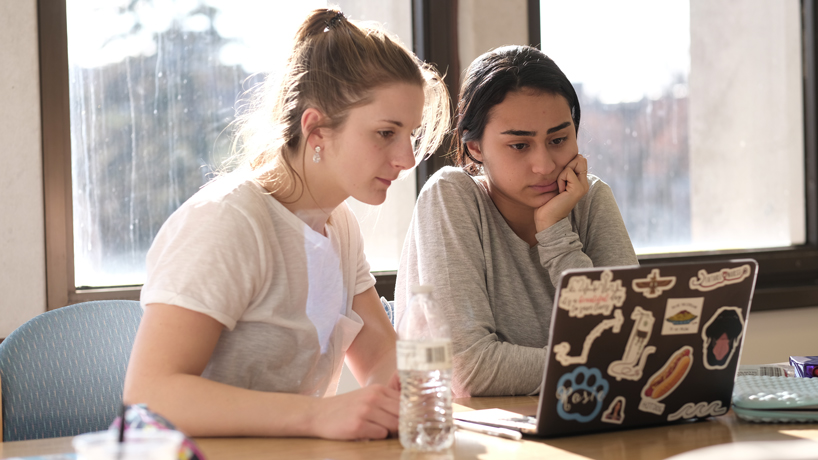 two students studying ABA remotely