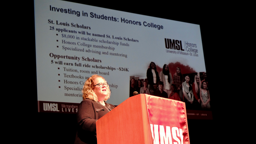 Chancellor Kristin Sobolik highlights UMSL's continued commitment to student success in annual address