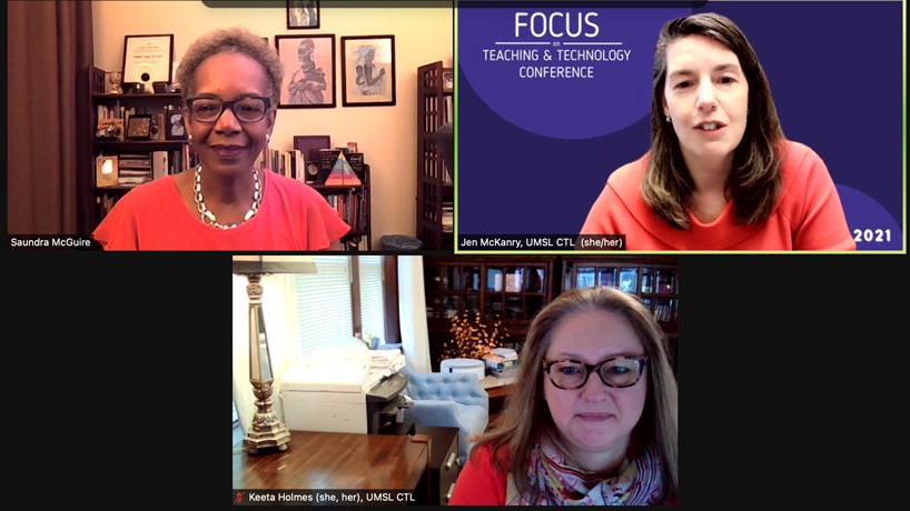Saundra McGuire speaking to Jennifer McKanry and Keeta Holmes via Zoom