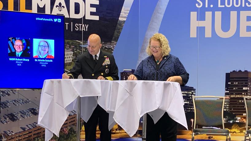 NGA Director Vice Admiral Robert D. Sharp and UMSL Chancellor sign Educational Partnership Agreement